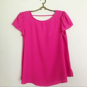 Hot Pink Neon Boutique Top with V back